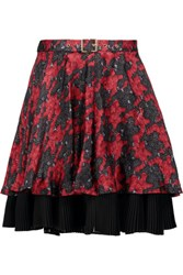 Just Cavalli Belted Printed Silk Chiffon Mini Skirt Multi