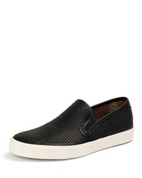 Frye Brett Perforated Leather Slip On Sneaker Black
