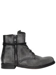 Diesel Washed Effect Canvas Lace Up Boots