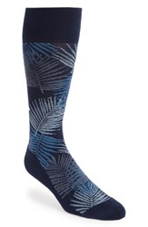 Nordstrom Men's Shop Evening Palm Frond Socks Navy Blue
