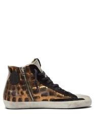 Golden Goose Deluxe Brand Francy Crocodile Effect Calf Hair Trainers Black Brown