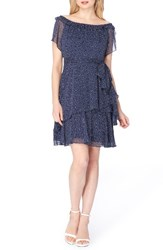 Tahari Women's Tiered Fit And Flare Dress Navy White