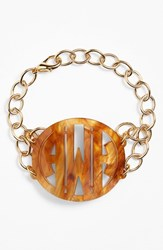Women's Moon And Lola 'Annabel' Large Personalized Monogram Bracelet Tigers Eye Gold