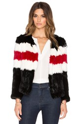 Pam And Gela Knitted Rabbit Fur Jacket Black