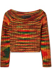 The Elder Statesman Cropped Ribbed Cashmere Sweater Red