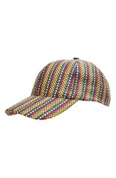 Topshop Women's Colored Straw Baseball Cap Red Red Multi