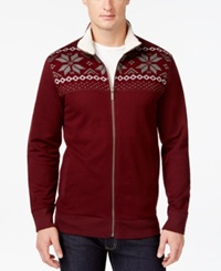 Club Room Big And Tall Sherpa Lined Full Zip Mock Neck Sweater Only At Macy's Marooned