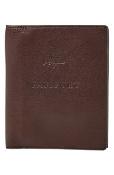Men's Fossil Leather Passport Case Brown Dark Brown