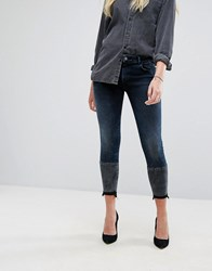 Dl1961 Florence Crop Skinny Jean With Contrast Wash Hem Detail Mercy Blue