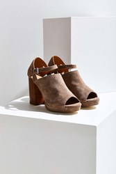 Urban Outfitters Janis Suede Stacked Heel Grey