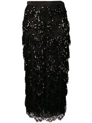 Alessandra Rich Sequin Embroidered Skirt Black