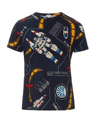 Loewe Galaxy Print Cotton T Shirt Blue Multi