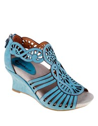 Earthies Caradonna Suede Wedge Sandals Light Teal