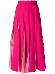 Capucci Pleated Midi Skirt Pink And Purple