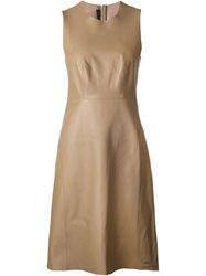 Calvin Klein Collection Leather Dress Brown