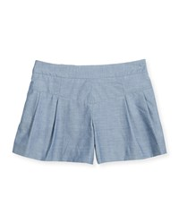 Milly Minis Pleated Chambray Shorts Denim Blue