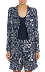 Chloe Women's Embossed Floral Paisley Cady Jacket Navy Size 0 Us