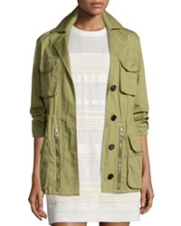 Belstaff Military Drawstring Waist Coat Olive Green Women's