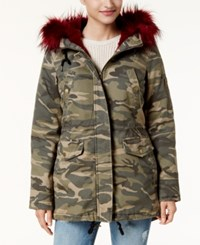 American Rag Juniors' Faux Fur Trim Camo Parka Created For Macy's Olive