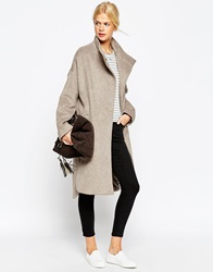 Asos Coat In Oversized Fit With Popper Detail Camel