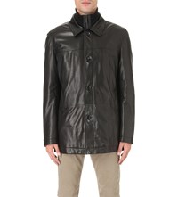 Hugo Boss Quilted Layer Leather Jacket Black