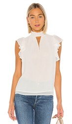1.State 1. State Muse Smocked Neck Keyhole Blouse In White. Soft Ecru