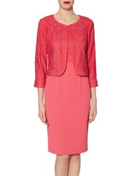 Gina Bacconi Embroidered Bodice Crepe Dress And Jacket Coral Red