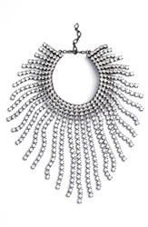 Cristabelle Women's Graduated Fringe Statement Necklace Clear Hematite