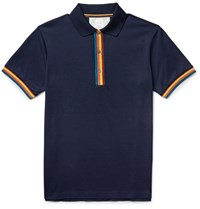 Paul Smith Slim Fit Contrast Tipped Cotton Pique Polo Shirt Midnight Blue