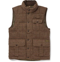 Polo Ralph Lauren Down Filled Houndstooth Wool And Alpaca Blend Gilet Brown