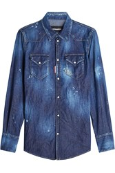 Dsquared2 Denim Shirt With Distressed Details