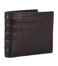 Bottega Veneta Croc Embossed Billfold Wallet Unisex Black