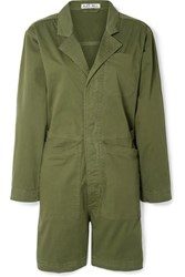 Alex Mill Cotton Blend Playsuit Army Green