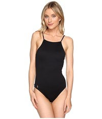 Polo Ralph Lauren Safari Solids High Neck Laced Back One Piece Black Women's Swimsuits One Piece