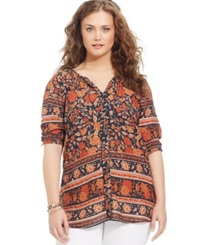 Lucky Brand Plus Size Floral Print Peasant Blouse Brown Multi