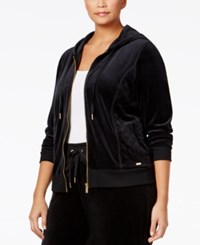 Calvin Klein Plus Size Zip Front Velour Hooded Jacket Black