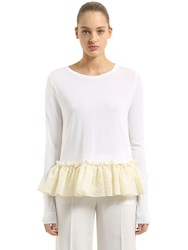 Antonio Berardi Knit Sweater With Ruffled Lace Hem White