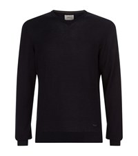 Armani Collezioni V Neck Long Sleeved Jumper Male Navy