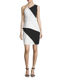 Halston One Shoulder Colorblock Peplum Dress Bone Black Ivory Black