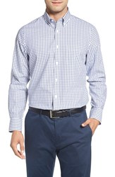 Nordstrom Men's Big And Tall Men's Shop Smartcare Sport Shirt White Navy Peacoat Grid