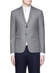 Thom Browne Hector Embroidered Wool Blazer Grey