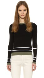Tanya Taylor Rita Sweater Black Olive White
