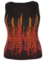 Chesca Abstract Spot Border Print Crush Pleat Cami Black Orange