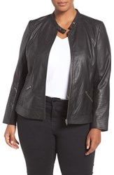 Sejour Plus Size Women's Channel Stitch Leather Moto Jacket