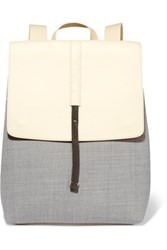 Brunello Cucinelli Bead Embellished Canvas And Leather Backpack Light Gray