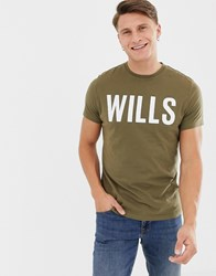 Jack Wills Wentworth Large Logo T Shirt In Green