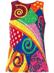 Manish Arora Swirl Patchwork Sequinned Top Multicolour