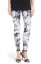Women's Hue 'Floral Luster' Twill Skimmer Leggings Black White