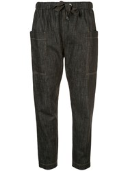Brunello Cucinelli Tapered Denim Style Trousers Black