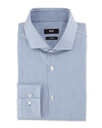 Hugo Boss Slim Fit Easy Iron Mini Check Dress Shirt Teal Blue White